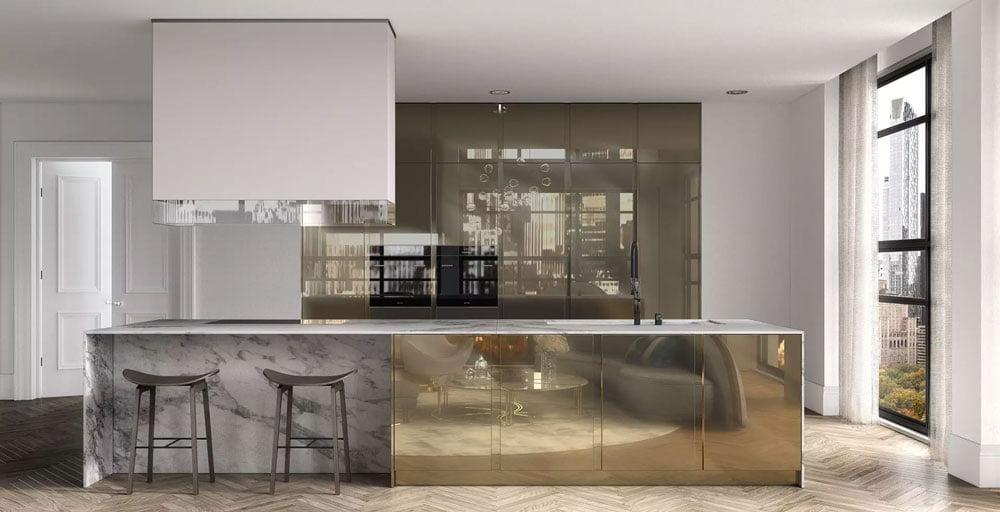 brass marble kitchen