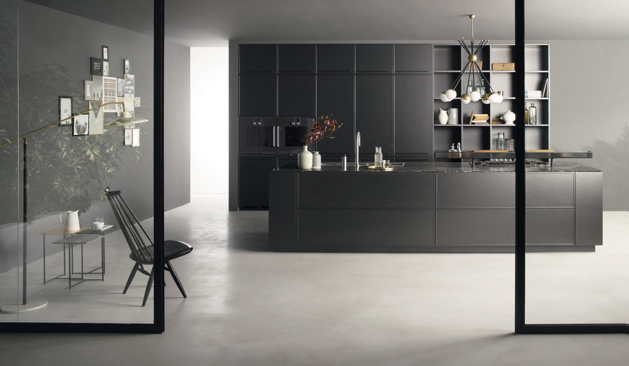 Factory Dark Handleless Italian Kitchen